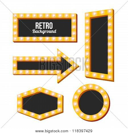 retro yellow frame. Vintage Signs