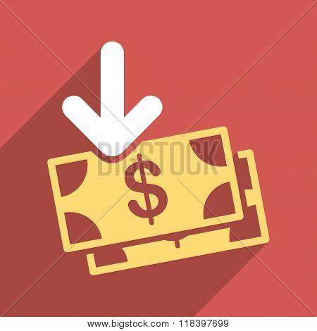Dollar Banknotes Income Flat Long Shadow Square Icon