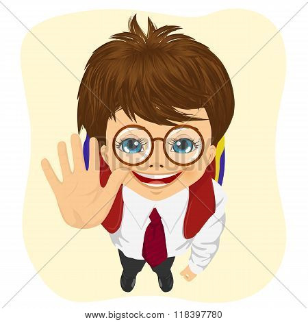 top view of schoolboy with glasses showing five fingers