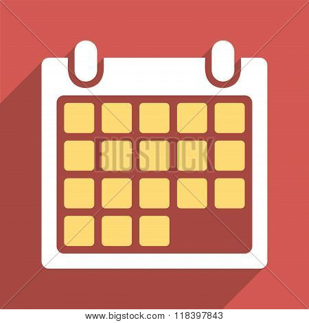 Month Calendar Flat Long Shadow Square Icon