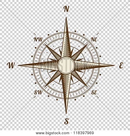 Vector Compass. Height Quality Illustration. Old Style. West, East, North, South. Wind Rose Simple Style Isolated