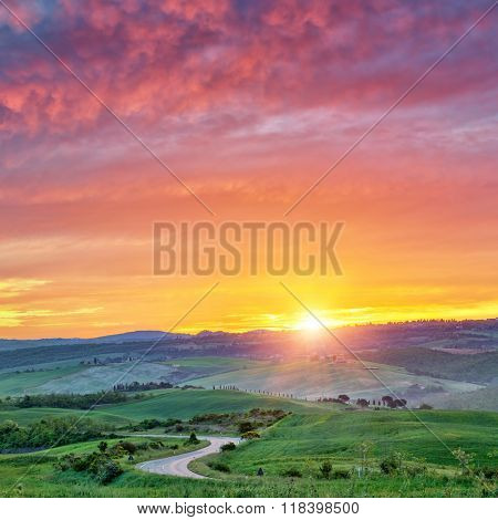 Beautiful sunrise in Tuscany, Italy