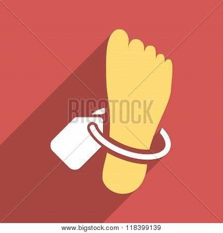 Mortuary Foot Tag Flat Long Shadow Square Icon
