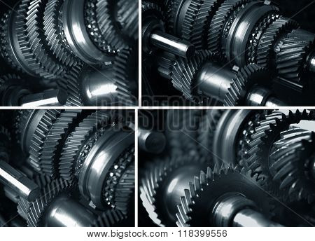 Gearbox transmission collage. Cogs and gears .