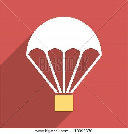 Parachute Flat Long Shadow Square Icon