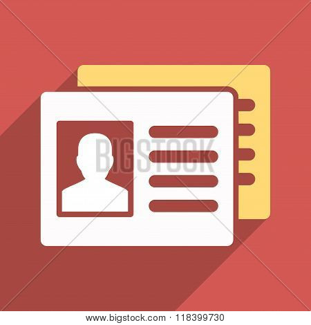 Patient Accounts Flat Long Shadow Square Icon