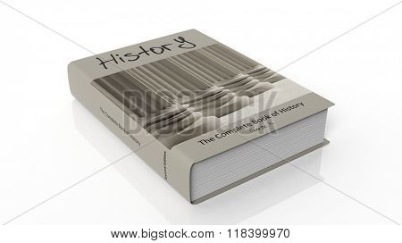 Hardcover book History with illustration on cover, isolated on white background.