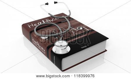 Hardcover book on Healthcare and stethoscope, isolated on white background.