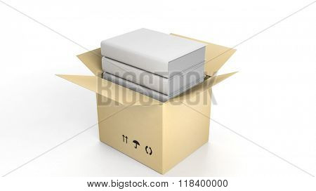 Stack of books with blank cover inside an open cardboard box, on white background.