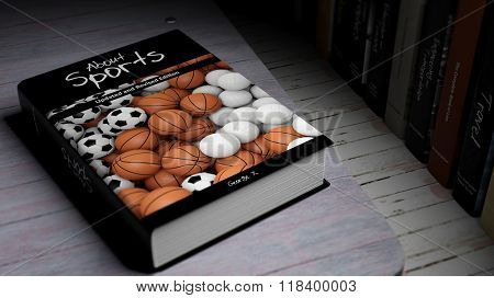 Hardcover book About Sports with illustration on cover, on wooden surface.