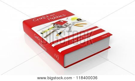 Hardcover book on Craft and Hobbies with illustration on cover, isolated on white background.