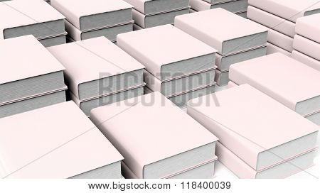 Book stacks with blank hardcover closeup