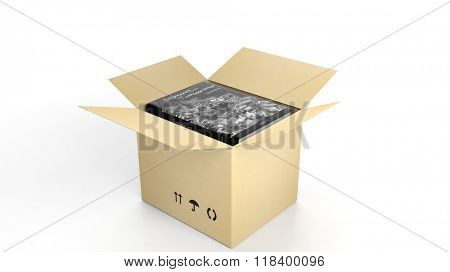 Book on Engineering and Transportation with illustrated cover inside an open cardboard box, on white background.