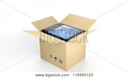 Book on Psychology, with illustrated cover inside an open cardboard box, on white background.