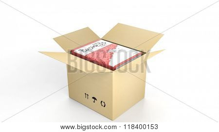 Book on Making Business with illustrated cover inside an open cardboard box, on white background.