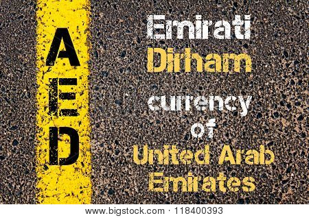 Acronym Aed- Emirati Dirham Currency