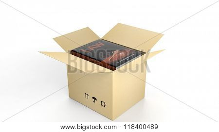 Book on Law with illustrated cover inside an open cardboard box, on white background.
