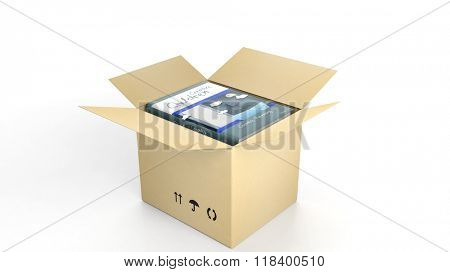 Book Creative Children with illustrated cover inside an open cardboard box, on white background.
