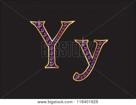 Yy Amethyst Jeweled Font With Gold Channels