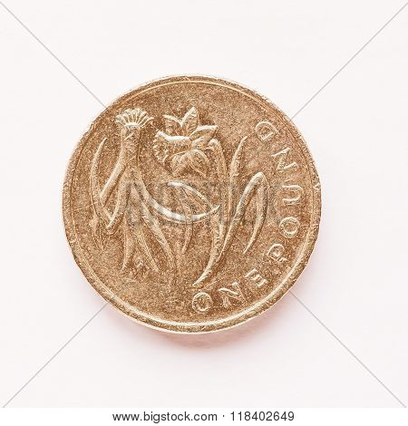 Uk 1 Pound Coin Vintage