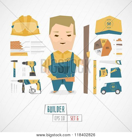 Flat funny charatcer builder