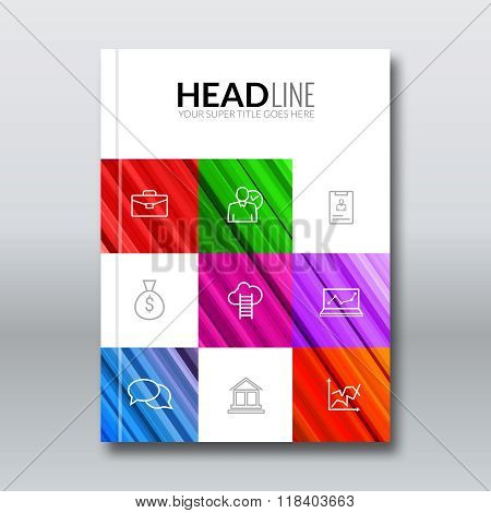 Cover colorful lines geometric design background, cover flyer magazine, brochure book cover template
