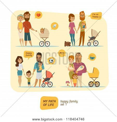 Family infographic with elements and characters