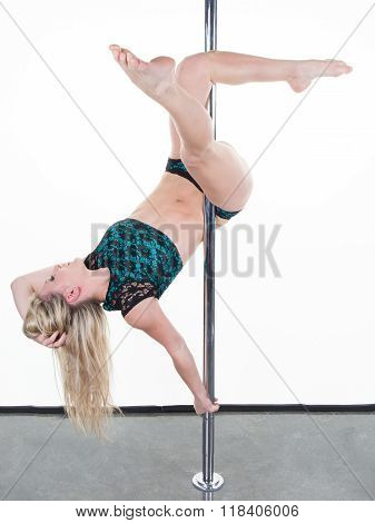 Posing Dancing Woman Close To The Pole Funny Pose