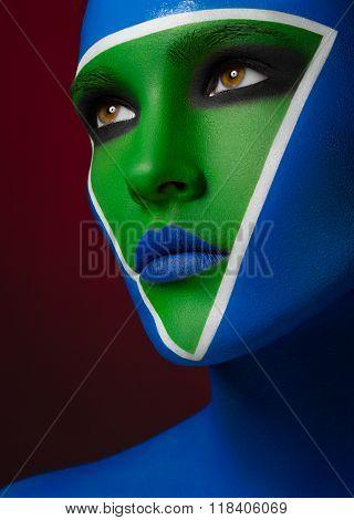 Beautiful Creative Makeup, Blue-green Makeup Art, A Beautiful Girl On A Red Background