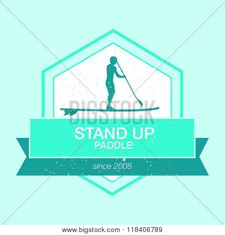 Colorful Logo Template For Stand Up Paddling. Vector Athletic Labels And Badges.