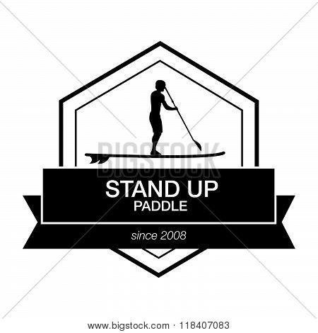 Logo Template For Stand Up Paddling. Vector Athletic Labels And Badges.