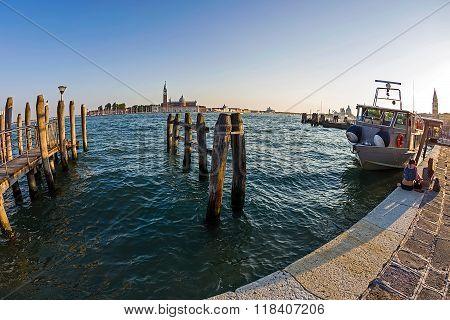 Venice, Italy. Fish Eye View Of Grand Canal And San Giorgio Maggiore Church