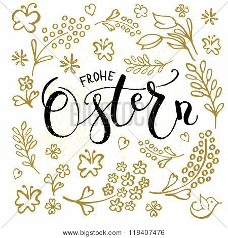 Ostern (easter In German) Postcard, Card, Invitation, Flyer, Banner Template.