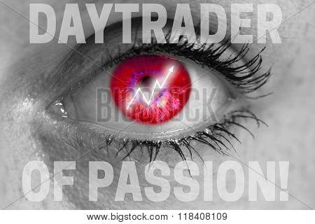 Daytrader Eye Looks At Viewer Concept Macro