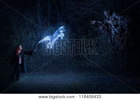Girl With A Magic Wand In Forest Fighting With The Demon