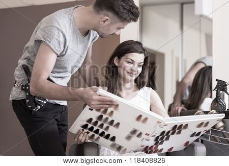 Hairdresser Advising His Client
