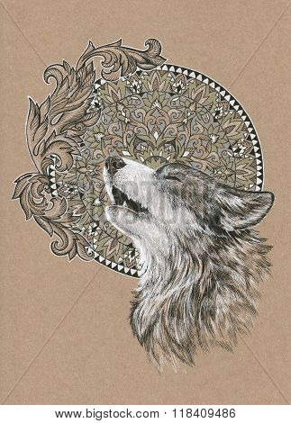 Howling Wolf, Dog On The Background Of The Mandala