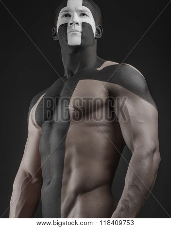 An Active Lifestyle And Sports: Big Man With My Drawing Inflated Body In The Form Of A Cross With Bi