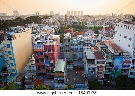 Ho Chi Minh City skyline from Viet Nam Quoc Tu Pagoda
