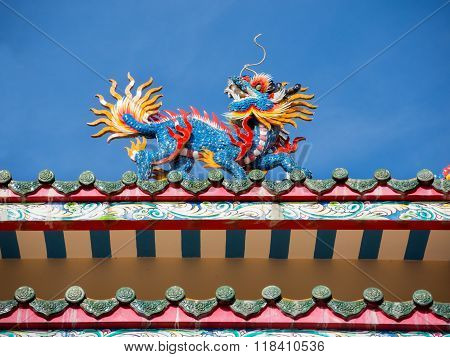 closeup dragon on pavilion in chinese style