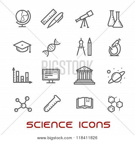 Science and education thin line icons