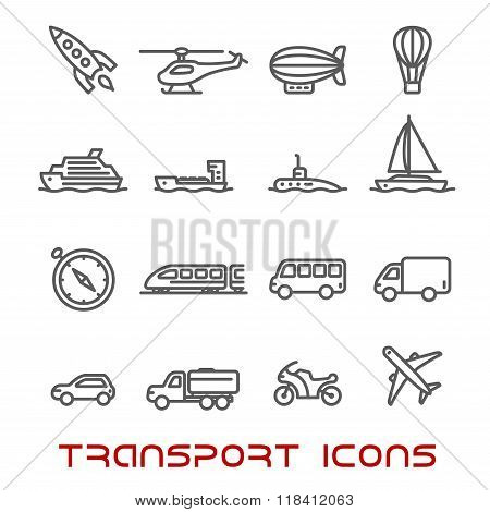 Thin line transportation icons set