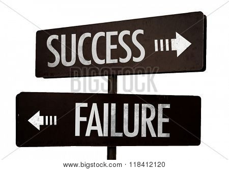 Success - Failure signpost isolated on white background