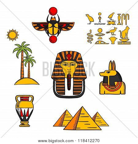 Egypt travel and culture icons