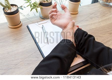 Woman Hand Pain On Desk - Office Syndrome