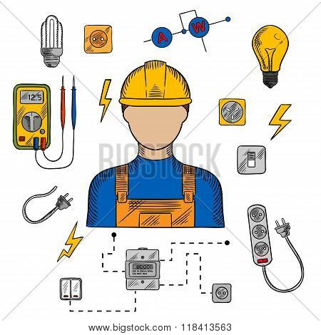 Electrician man, tools and equipment