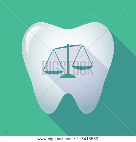 Long Shadow Tooth Icon With  An Unbalanced Weight Scale