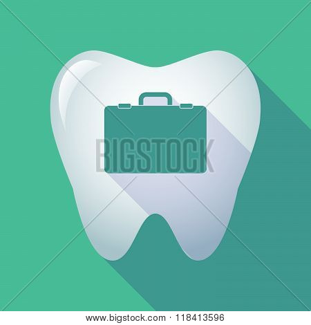 Long Shadow Tooth Icon With  A Breiefcase