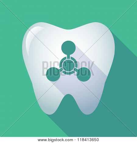 Long Shadow Tooth Icon With A Chemical Weapon Sign