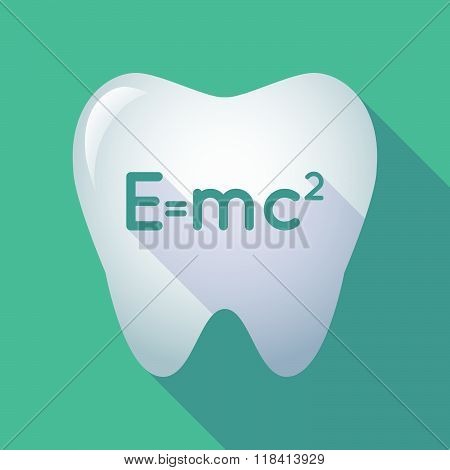 Long Shadow Tooth Icon With The Theory Of Relativity Formula